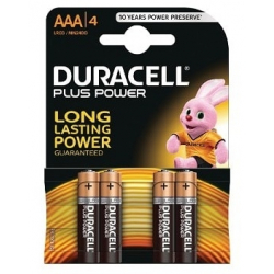 Pack de 4 piles AAA Duracell Plus Power