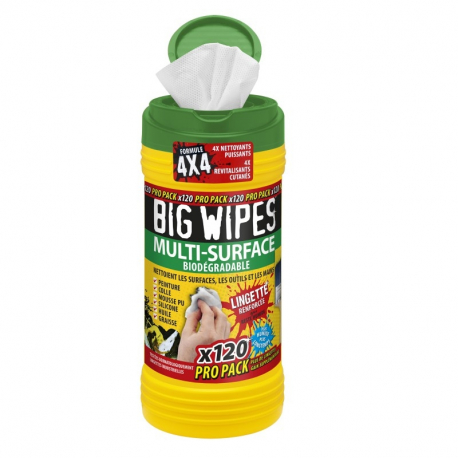 Pot de 120 lingettes 4x4 multisurfaces BIG WIPES